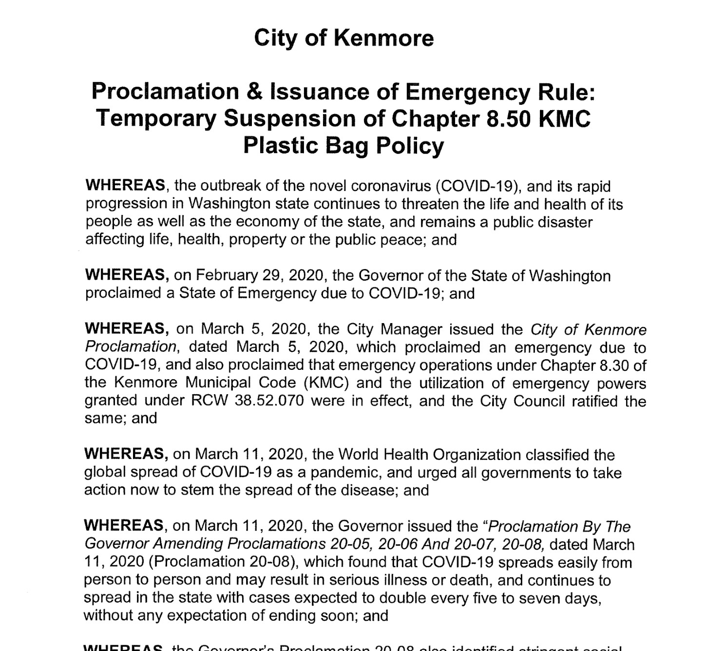 Kenmore extends four COVID-19 related proclamations and emergency rules to August 1